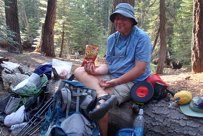 Having found a decent campsite at Cloud's Rest Junction, I happily devour the Cheetos I had purchased the day before at Tuolumne Meadows. Photo by Jill Haak.