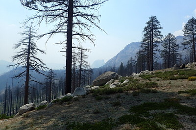 First glimpse of Half Dome (center). Photo by Chuck Haak.