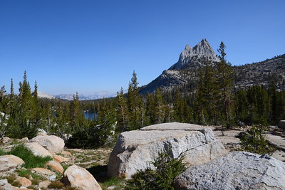 That's Upper Cathedral Lake through the trees.