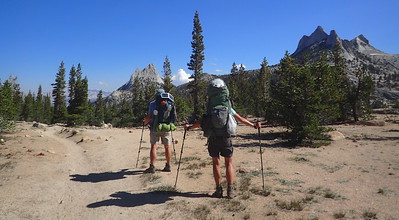 Looking back at Cathedral Peak and Echo Peaks. Photo by Chuck Haak.