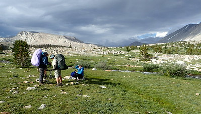 Jill and I chatting with fellow hiker, Sarah, after our successful creek crossing. Photo by Chuck Haak.
