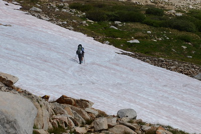 "Chuck and Jill crossing a snowfield, the first ""big"" one of our hike. Certainly not the last!!"
