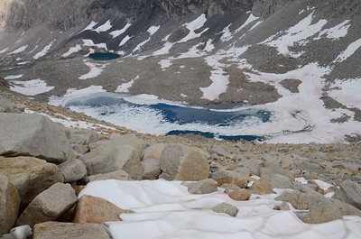 Mostly iced-over lake below Forester Pass.