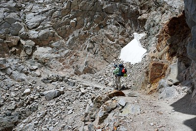 Heading across the chute below Forester Pass. Photo by Robin Newcomer.