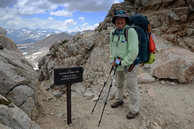 Made it to the top of Forester Pass! With an elevation of 13,200', this is the highest pass on the JMT. Photo by Robin Newcomer.