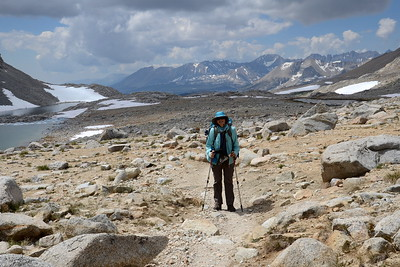 My new friend Robin. We first met her the day before while we were huddled under some trees out of the rain and she camped near us at Tyndall Creek. Robin and I hiked together the rest of this day and half of the next day. She was hiking the JMT solo.