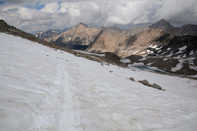 """Starting down Forester Pass over an awful lot of snow. Robin and I ended up doing a lot of off-trail rock scrambling on the way down and she anointed me with the trail name """"Trailblazer."""""""