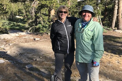 Hiking buddies at Upper Vidette Meadow. Robin and I would hike together again for a few miles today until she had to take a detour over Kearsarge Pass to pick up a resupply. Photo by Jill Haak.