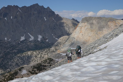 Chuck and Jill heading down Glen Pass. There was lots of snow and a bit of scrambling down slippery social trails.