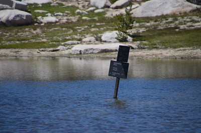 """After lunch and saying """"see ya"""" to Robin, we arrived at the Charlotte Lake junction, which was under water."""