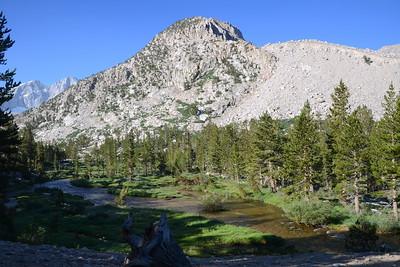 Bubbs Creek plus unknown mountain with rock glacier (right).