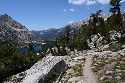 From the Charlotte Lake junction, the trail started ascending in earnest toward Glen Pass. Charlotte Lake is below.