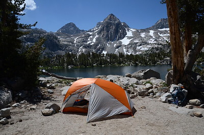 "My tentsite on our zero day at Rae Lakes. We took whatever site we could find the night before when we arrived, but the next morning, Chuck went scouting for ""lake front property"" for us to move to. What an amazing view of the Painted Lady! Score!!"