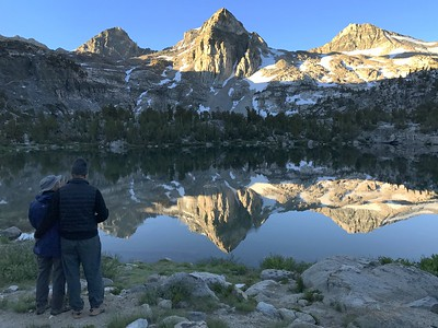 Chuck and Jill saying goodbye to our amazing view at Rae Lakes.