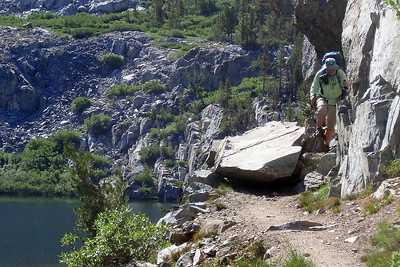 There was a pretty big rock fall across the trail at Dollar Lake.