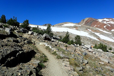 The little speck on the snowfield ahead is me. Photo by Chuck Haak.