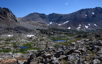 Looking down into the basin below Pinchot Pass.