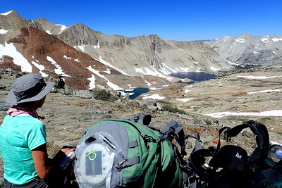 Jill taking in the view to the northwest from the top of Pinchot Pass. Photo by Chuck Haak.