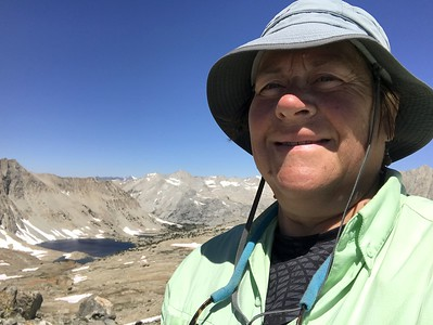 A not too flattering selfie on Pinchot Pass. Lake Marjorie is in the background. We're planning to stop there for lunch.
