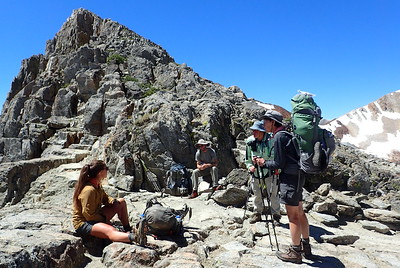 Carley, unknown guy (Jim?), me, and Jill on Pinchot Pass. Photo by Chuck Haak.