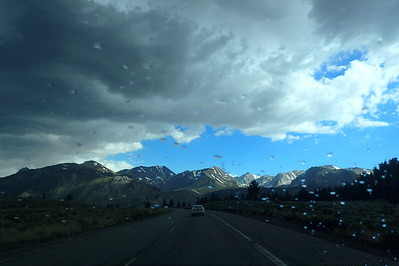 Getting close to Mammoth Lakes. We had a little bit of rain on the way down. Photo by Chuck Haak.