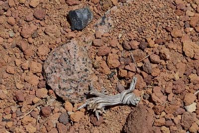 Scoria, obsidian, and granite - strange combination.