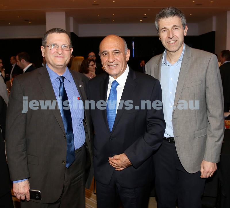JNF Gala Dinner at Randwick Racecourse. (from left) Shmuel Ben Shmuel, SHaul Mofaz, Dan Springer. Pic Noel Kessel.