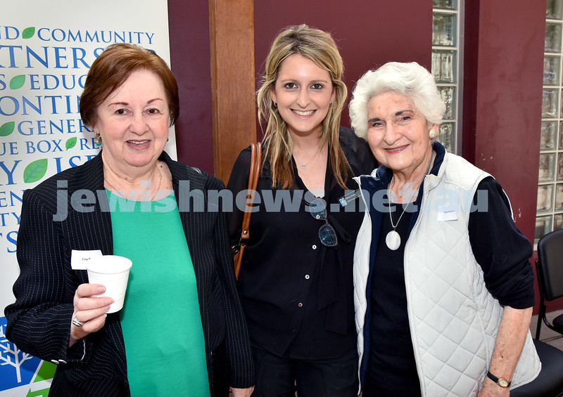 JNF Seniors morning tea in the Mizrachi Synagogue Succah. From left: Fira Pearl, Romy Dinte, Elna Fletcher. Pic Noel Kessel