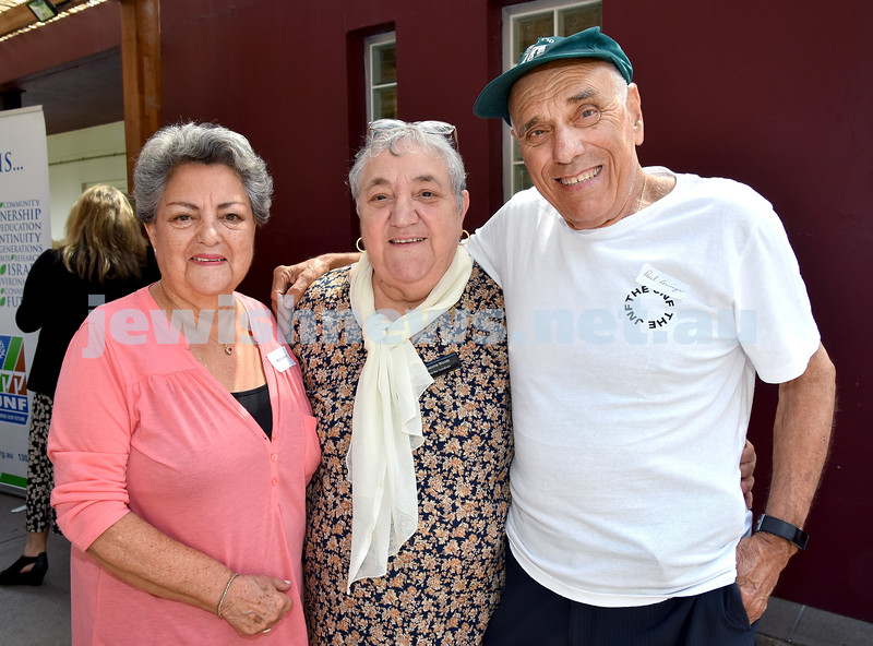 JNF Seniors morning tea in the Mizrachi Synagogue Succah. From left: Sheila Lazarus, Salome Woods, Paul Lowinger. Pic Noel Kessel
