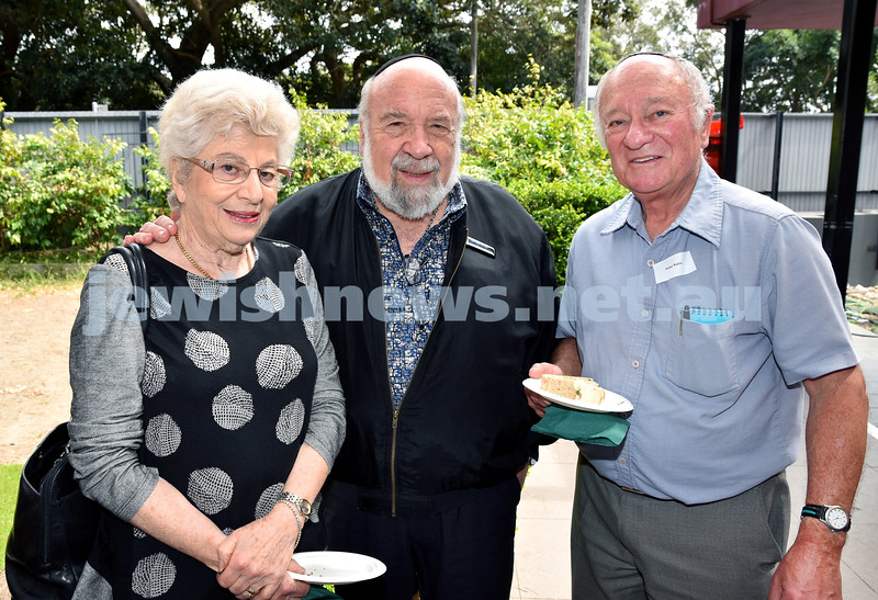 JNF Seniors morning tea in the Mizrachi Synagogue Succah. From left: Dorit and Len Mahemoff, Peter Kahn. Pic Noel Kessel