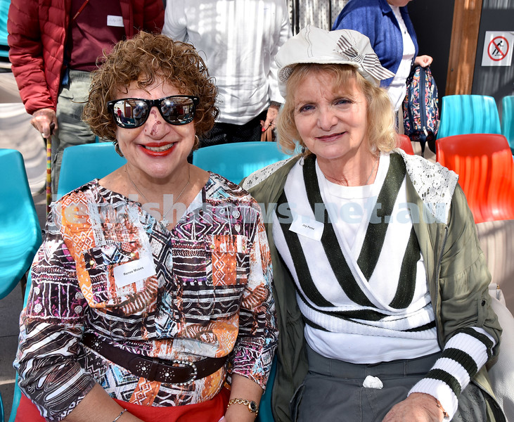 JNF Seniors morning tea in the Mizrachi Synagogue Succah. Renee Moses (left), Joy Perez. Pic Noel Kessel