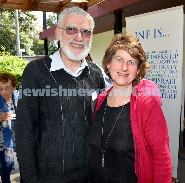 JNF Seniors morning tea in the Mizrachi Synagogue Succah. Joe and Sue Gold. Pic Noel Kessel