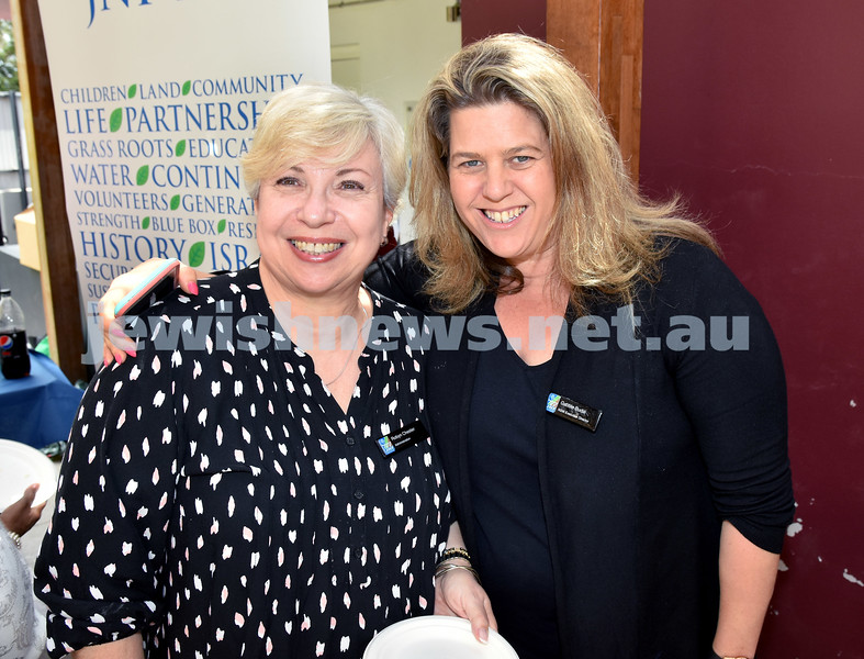 JNF Seniors morning tea in the Mizrachi Synagogue Succah. Robyn Chester (left), Gabbie Budai. Pic Noel Kessel