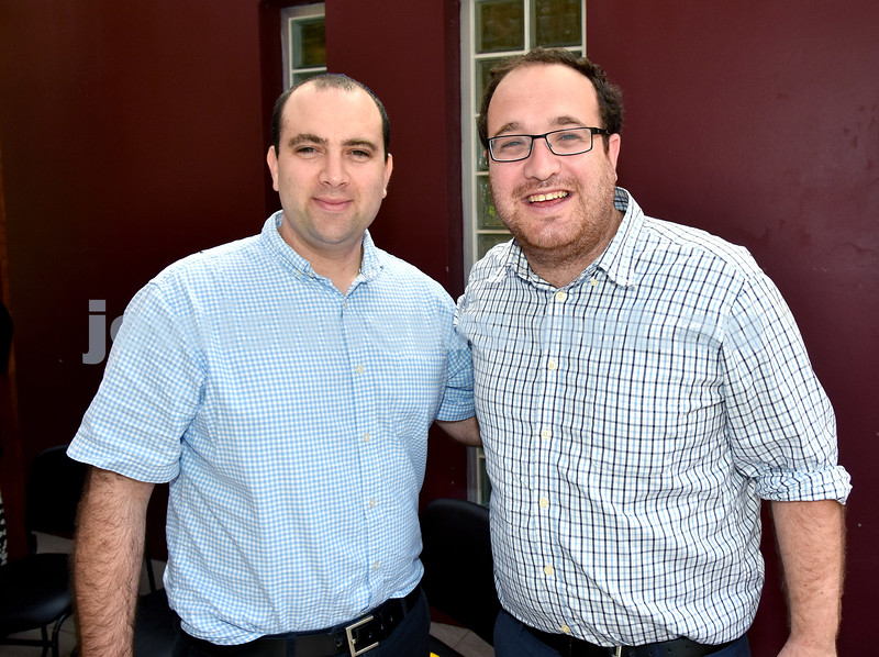 JNF Seniors morning tea in the Mizrachi Synagogue Succah. Yigal Nisell (left), Rabbi Shua Solomon. Pic Noel Kessel