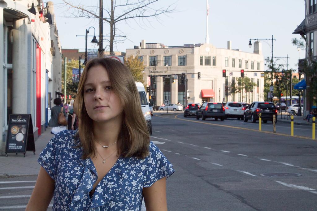 Linn Stahlberg exploring Coolidge Corner on 9/25/17.