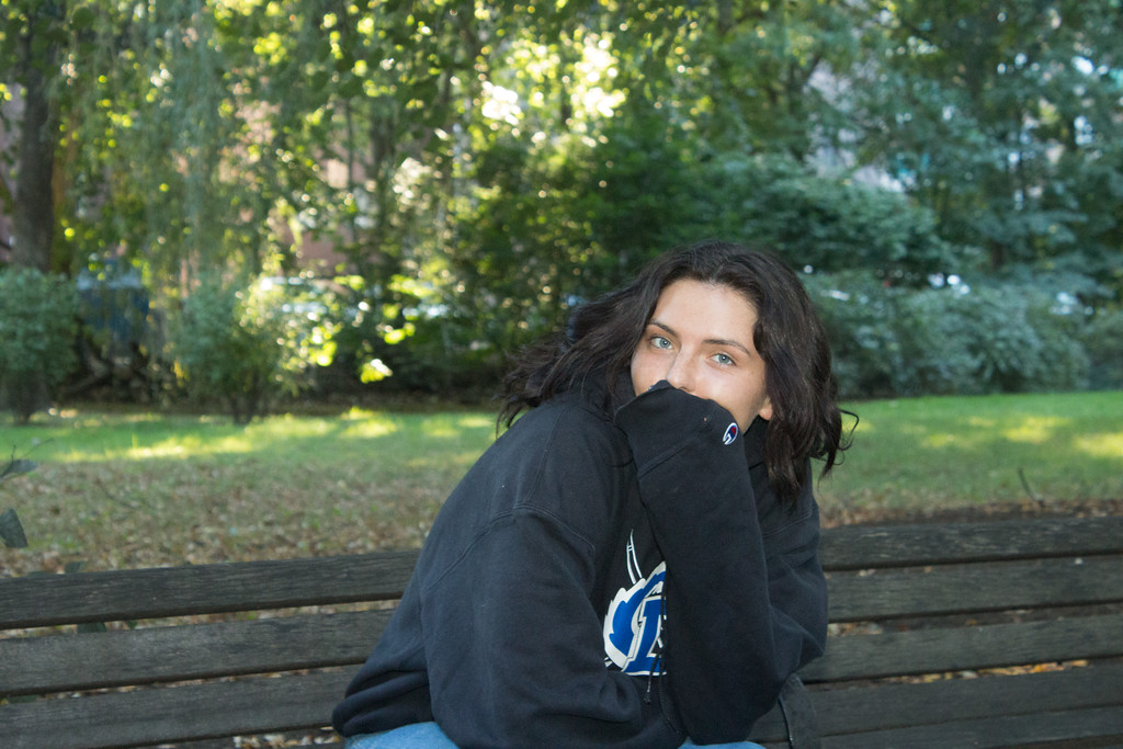Shannon Sullivan sitting on a park bench in Amory Park on October 2nd.