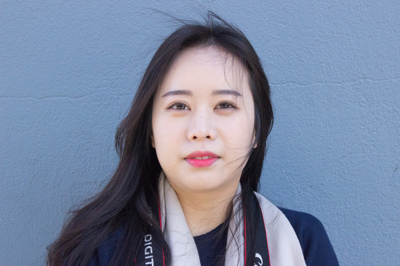 Boston University Senior Hyunji Lee Photographed In Front Of The COM Building
