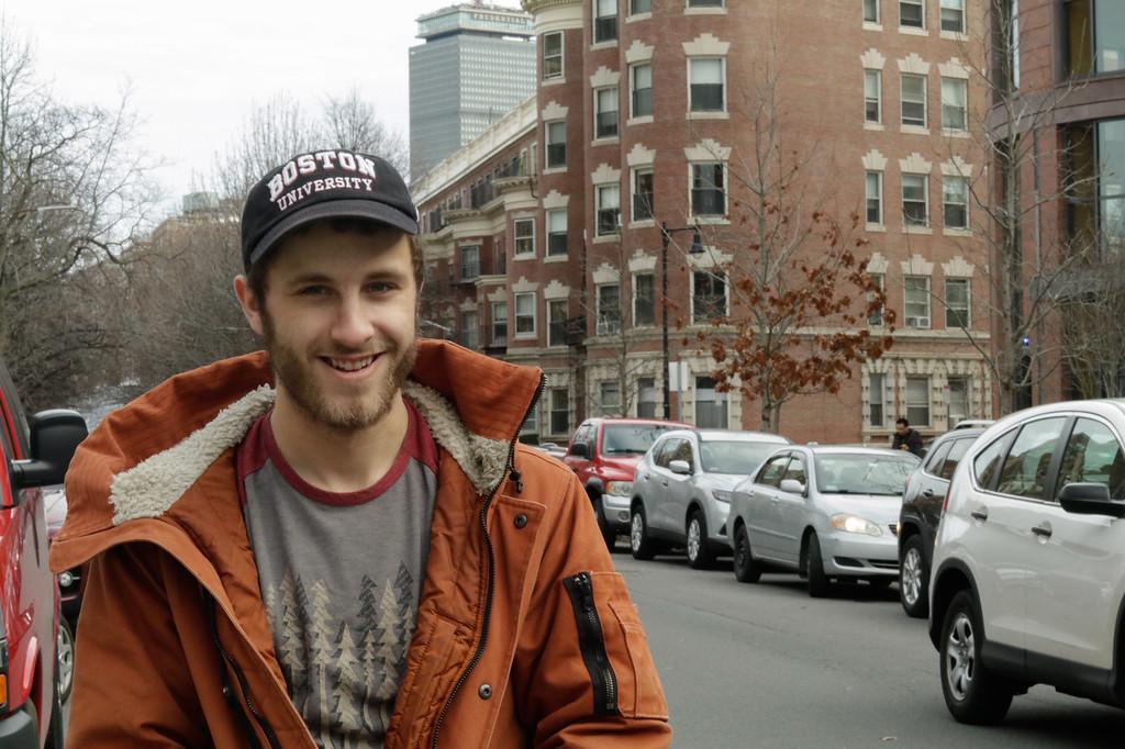 Zach McCollum, BU sophomore, smiling on Bay State at Boston University on Feb 12, 2018.