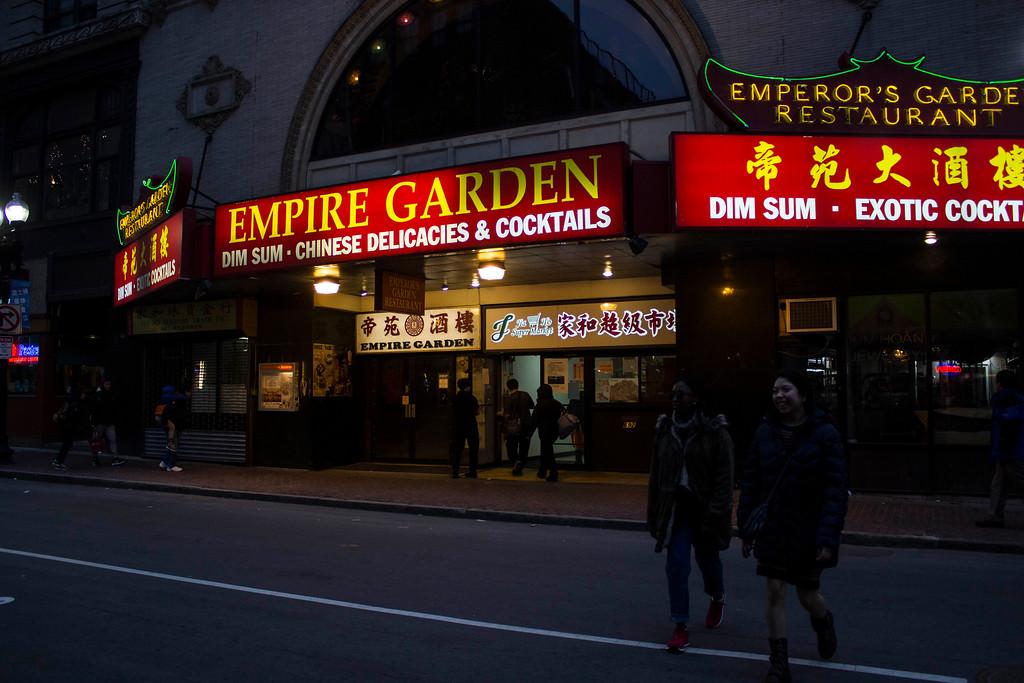 Pedestrians and a Boston Chinatown restaurant