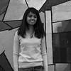 Boston, November 23, 2014: Sahana Venkatesh, a premed student at Kent State University, poses for a photo in front of the CFA mural.
