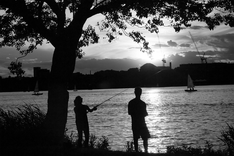 Couple fishing by Charles River. Photo taken as part of JO305 Photography Assignment. June 15, 2016