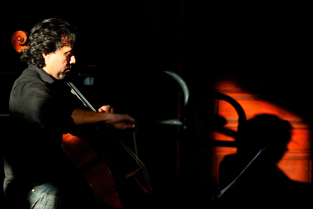 October 5th, 2012, Photograph of Cello Player in Cambridge MA to demonstrate a picture using light and shadow.