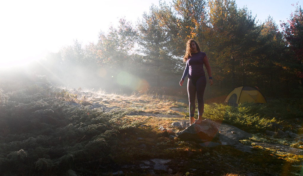 Julia is on her morning walk after the night of heavy raining. Acadia National Park, ME. Oct. 2012<br /> Photo by: Yongmyung Yi