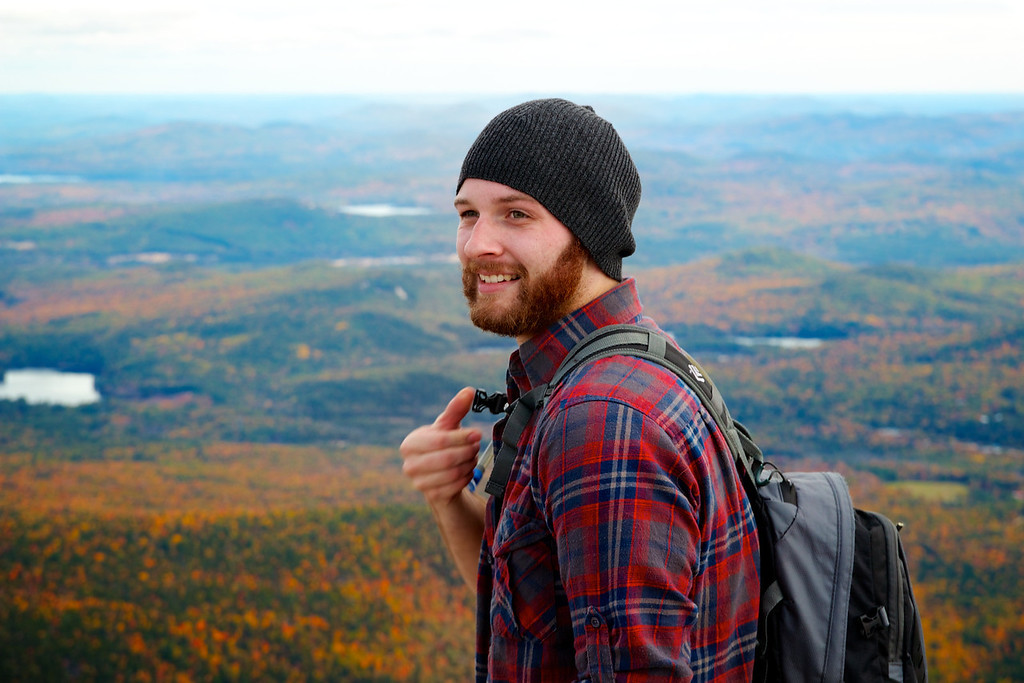 October 7th, 2012, Photograph of Andrew Ainsworth on Mount Chocorua in New Hampshire after his first trip to the east coast .