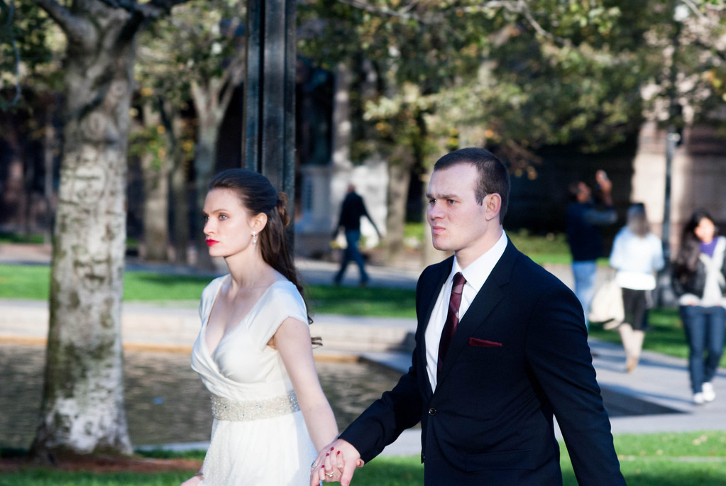 A couple walks hand in hand at Copley Square in Boston, Mass. after getting married on October 13, 2012. Photo by: Roneil Smith.