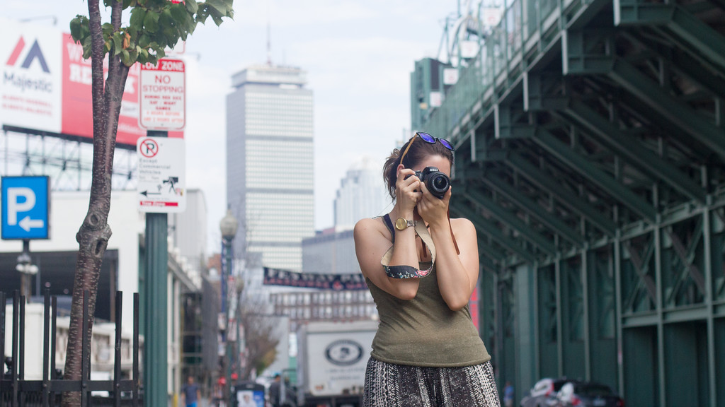 September 6th, 2014. Grace Raver, Science Journalism Graduate student, takes a photograph outside Fenway Park in Boston, Mass.