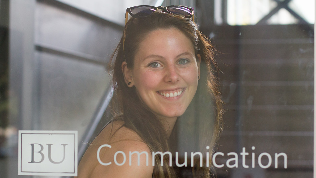 September 6th, 2014. Grace Raver, Science Journalism Graduate student, poses for a photograph outside Boston University's Communication building in Boston, Mass.
