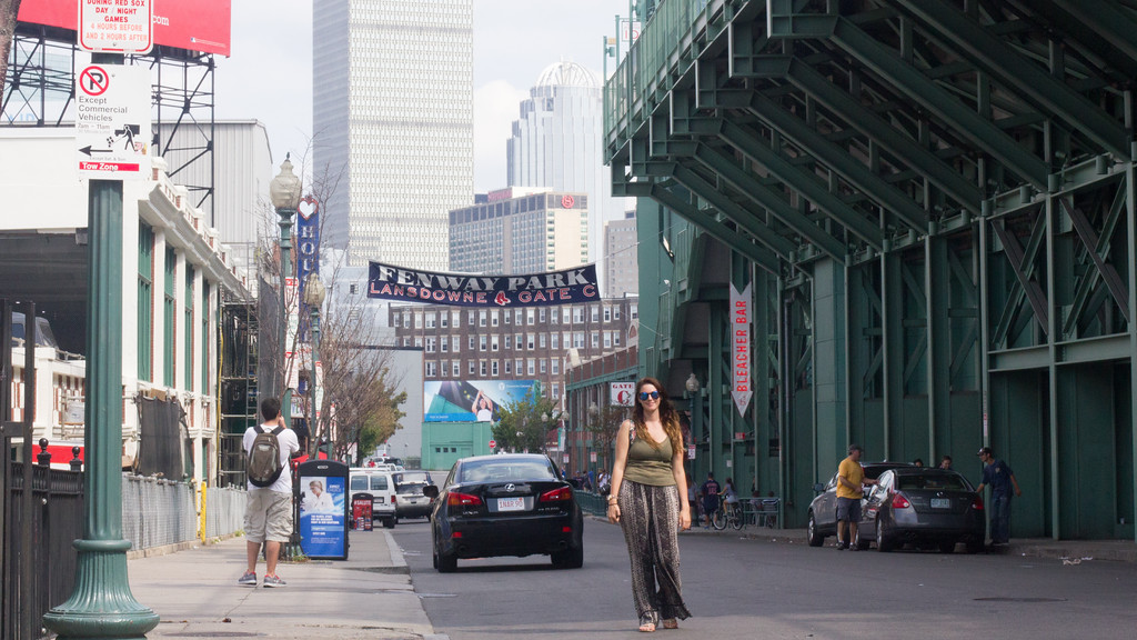 September 6th, 2014. Grace Raver, Science Journalism Graduate student, poses for a photograph outside Fenway Park in Boston, Mass.