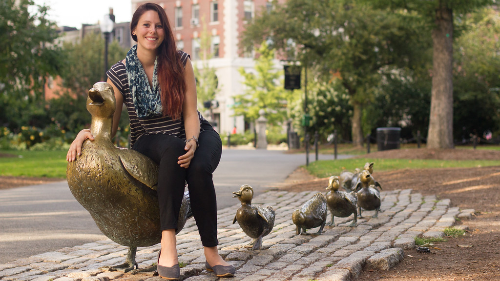 Grace Raver poses in the Public Gardens in Boston, Mass.