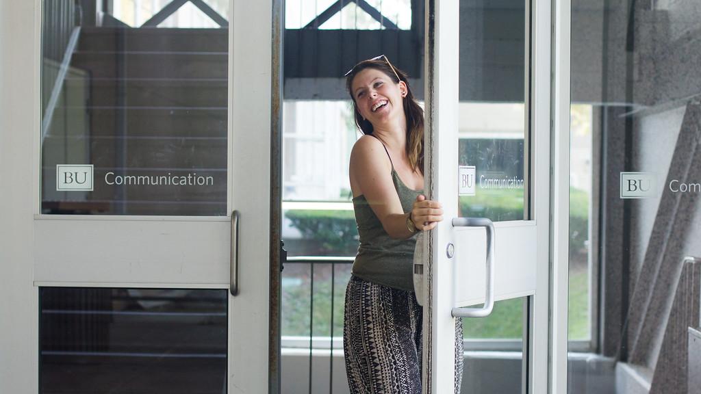 September 6th, 2014. Grace Raver, Science Journalism Graduate student, enters Boston University's Communication building in Boston, Mass.